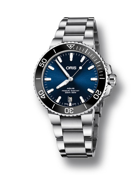 Oris Men's 39.5mm Aquis Automatic Bracelet Watch, Blue/Steel