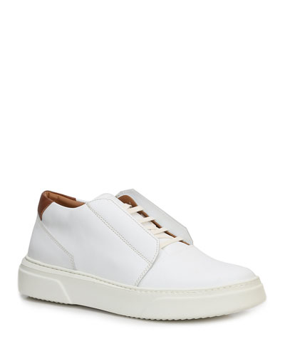 Men's Phoster Stretch-Laced  Leather Sneakers, White