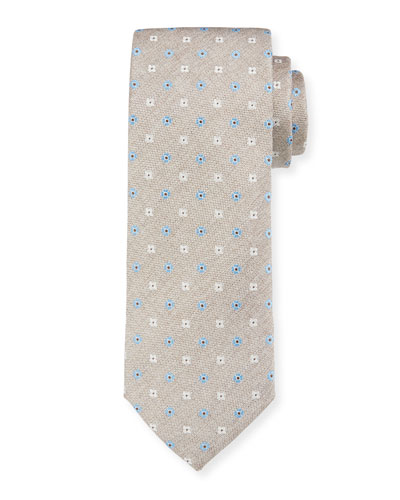 Men's Alternating Flower Silk Tie  Tan