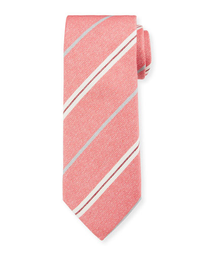 Men's Warp-Stripe Silk Tie  Red/White