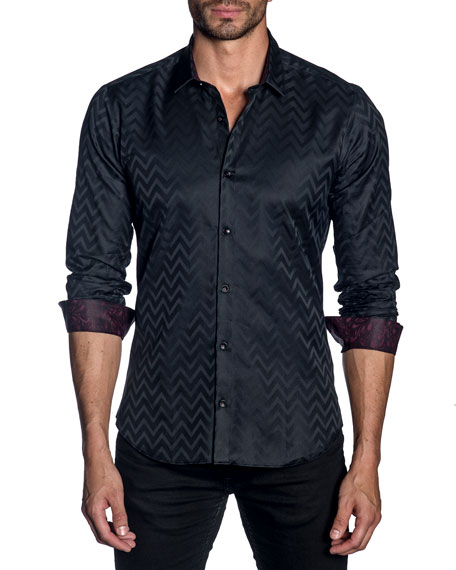Jared Lang  MEN'S SEMI-FITTED ZIGZAG SPORT SHIRT