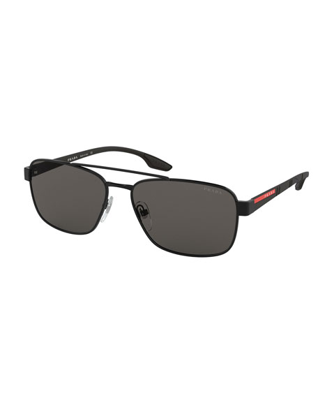Prada Men's 59Mm Square Metal Aviator Sunglasses In Black/Gray
