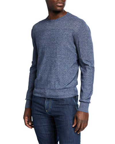 Men's Slate Long-Sleeve Melange Crew Sweater
