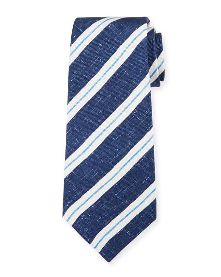 Kiton Men's Linen-Look Stripe Silk Tie, Navy