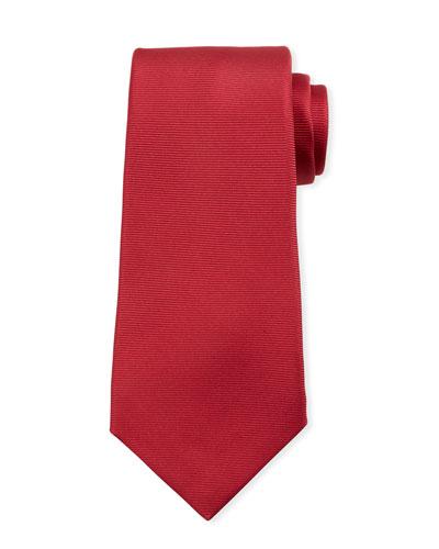 Solid Silk Twill Tie  Red