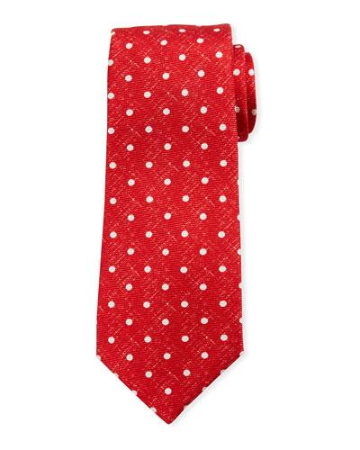 Linen-Look Dot Silk Tie  Red