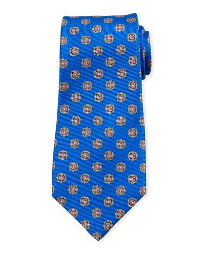 Round Medallion Silk Tie  Blue