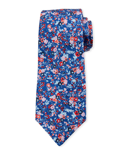 Mixed Floral Tie  Blue