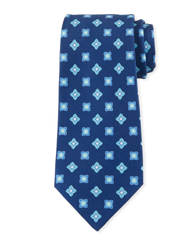 Boxes & Diamonds Silk Tie  Blue