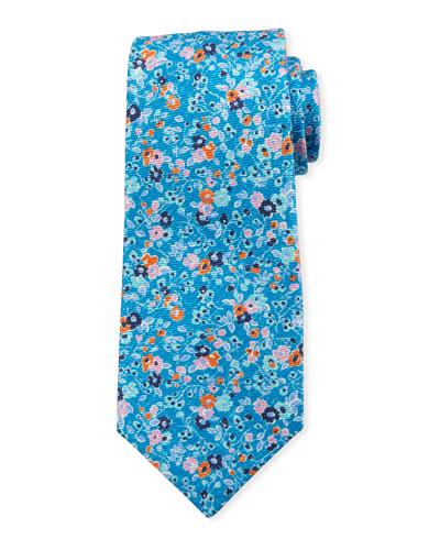 Mixed Floral Tie, Aqua
