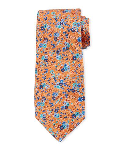 Mixed Floral Tie  Orange