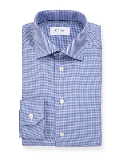 Men's Basic Slim-Fit Houndstooth Dress Shirt