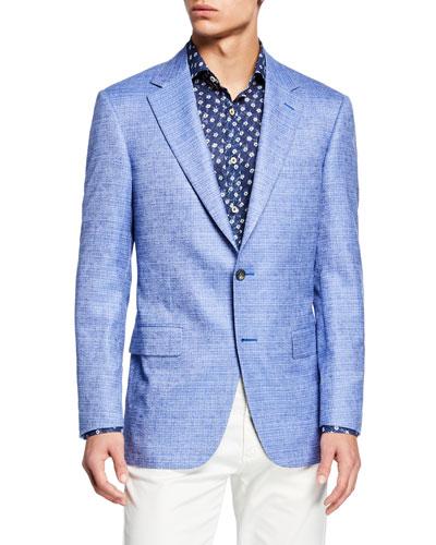 Men's Tonal Check Two-Button Silk/Cashmere Jacket