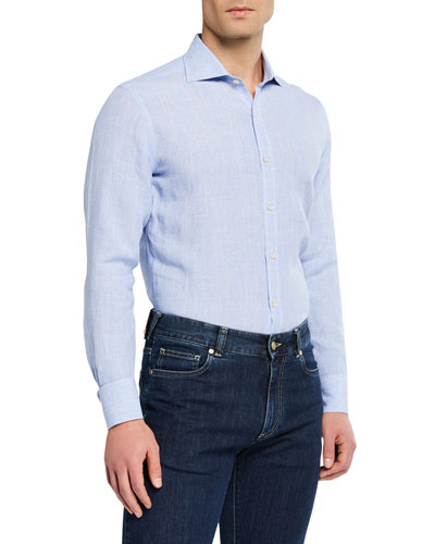 Men's Modern Fit Linen  Plaid Sport Shirt