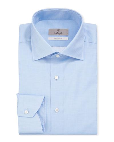 Men's Impeccabile Basic Twill Dress Shirt  Blue