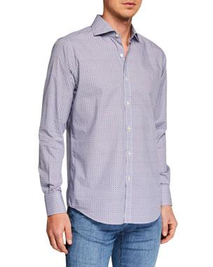 0db2fb2c848 Canali Men s Circle Print Long-Sleeve Dress Shirt
