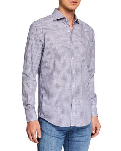 Men's Circle Print Long-Sleeve Dress Shirt