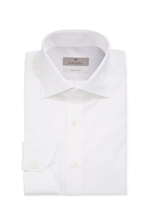 Canali Men's Impeccabile Basic Twill Dress Shirt, White