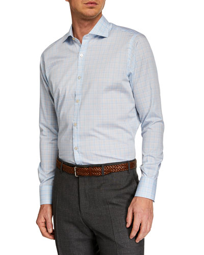 Men's Multi-Check Long-Sleeve Dress Shirt