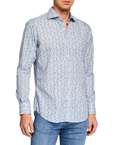 Men's Leaf Print Long-Sleeve Dress Shirt