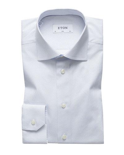 Men's Slim-Fit Micro-Pattern Dress Shirt