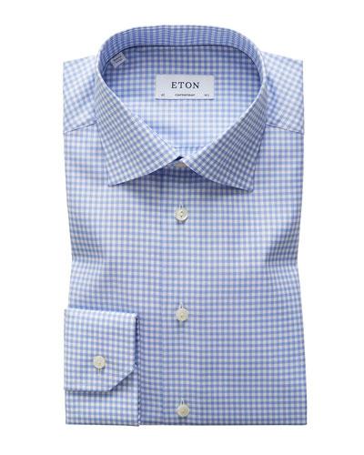 Men's Contemporary-Fit Grid-Pattern Dress Shirt