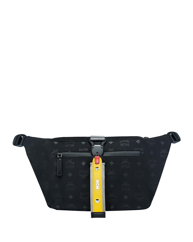 MCM Men s Resnick Large Monogrammed-Nylon Belt Bag
