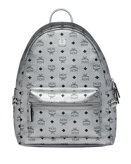 MCM Men's Stark Logo Visetos Backpack, Silver