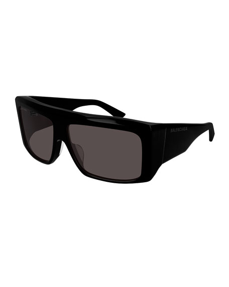 Balenciaga Men's Flat-Top Acetate Sunglasses