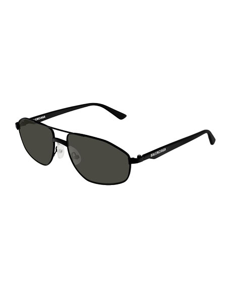 Balenciaga Men's Narrow Metal Frame Sunglasses