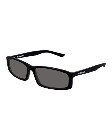Balenciaga Men's Rectangle Acetate Sunglasses