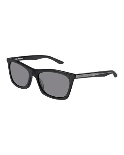 Men's Rectangular Acetate Rimmed Sunglasses