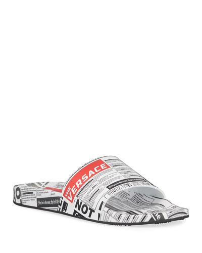 Men's Tabloid Print Slide Sandals