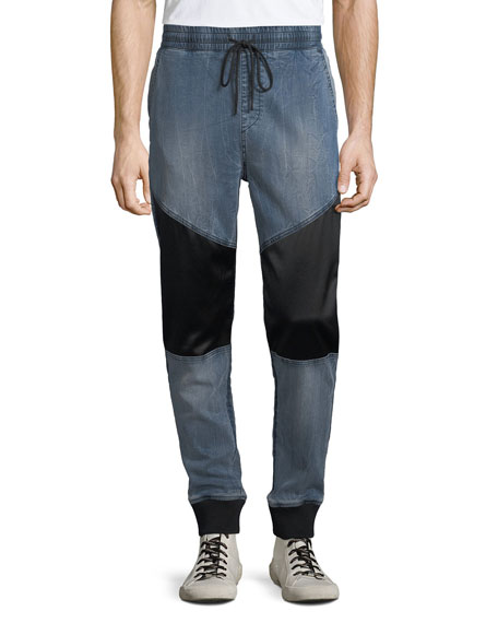 Men's Denim Paneled Jogger Pants