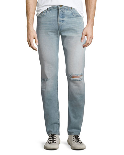 Men's Rocco Worn Light Energy Ripped-Knee Skinny Jeans
