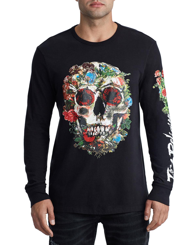 True Religion Men's Skull Bloom-Graphic Long-Sleeve T-Shirt