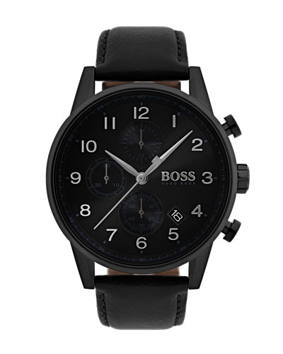 Men's Navigator Chronograph  Watch with Leather Strap, Black