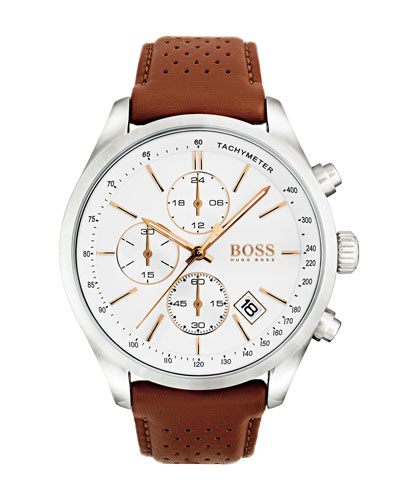 Men's Grand Prix Chronograph Watch with Leather Strap, White/Brown