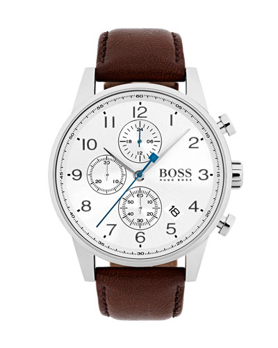 Men's Navigator Chronograph  Watch with Leather Strap, White/Brown