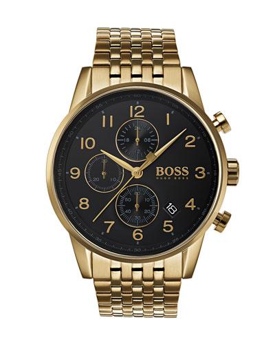 Men's Navigator Chronograph Bracelet Watch  IP Gold