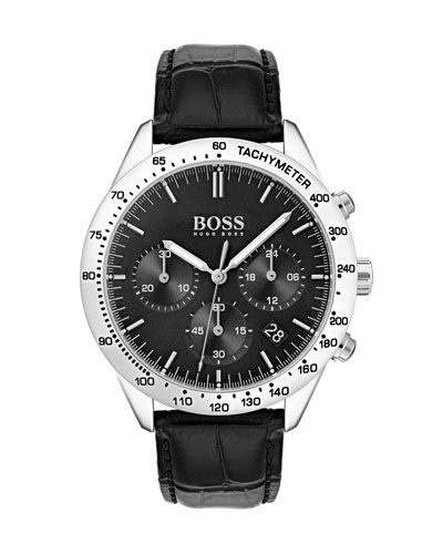 Men's Talent Chronograph Watch with Leather Strap, Black