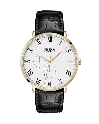 Men's William Analog Watch with Leather Strap  Gold IP/Black