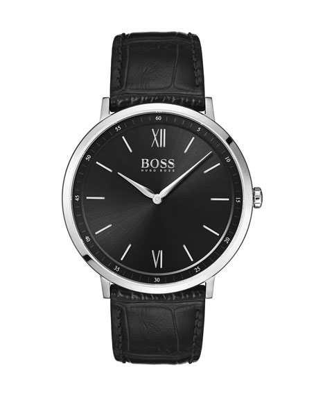 Hugo Boss Watches MEN'S ESSENTIAL ANALOG WATCH WITH LEATHER STRAP