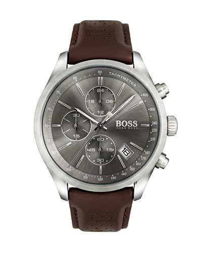 Men's Grand Prix Chronograph Watch with Leather Strap, Gray/Brown