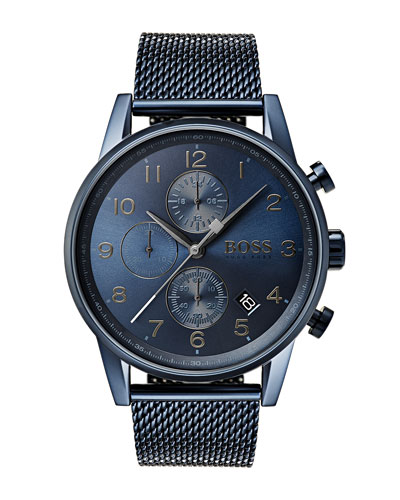 Men's Navigator Chronograph Bracelet Watch, IP Blue