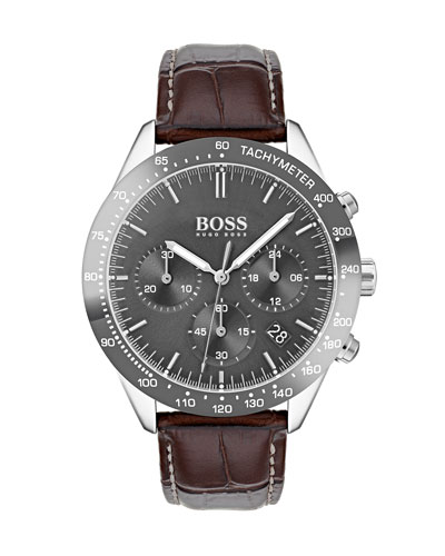 Men's Talent Chronograph  Watch with Leather Strap  Gray/Brown