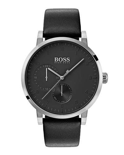 Men's Oxygen Analog Leather Watch