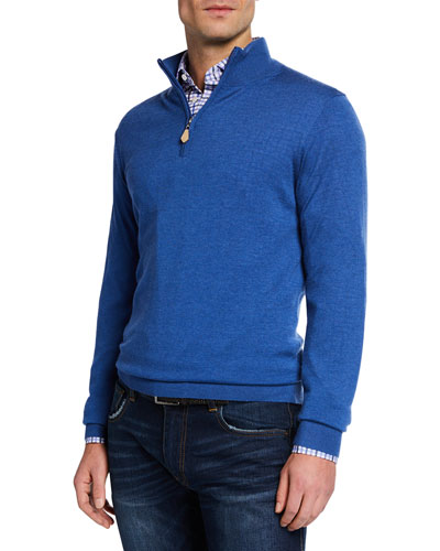 Men's Cashmere/Silk Quarter-Zip Sweater