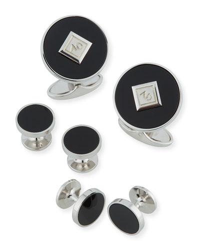 Onyx-Inset Cufflinks & Stud Set