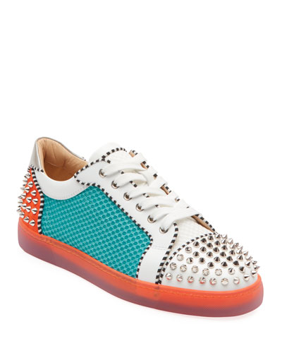 Men's Seavaste Spiked Leather Low-Top Sneakers